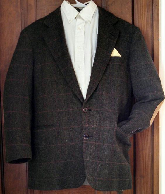 Mans brown vintage tweed sport coat US size 34 made for Kaufmans PGH