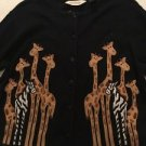 Giraffe Cardigan Top Bechamel Women's Size Medium Black Button Front Short Sleev
