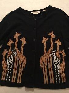 Giraffe Cardigan Top Bechamel Women's Size Medium Black Button Front Short Sleev