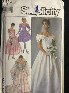 Simplicity Pattern 8413 Adult 12 Women's Dress Bridal Formal Wedding Vintage