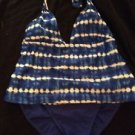 Faded Glory Swimsuit Tankini Medium Large Women's Blue and White 2 Piece Halter