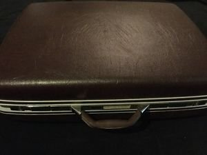 Vintage Samsonite Suitcase Brown Grey Case Luggage Hard Shell Silver 27x21x8.5