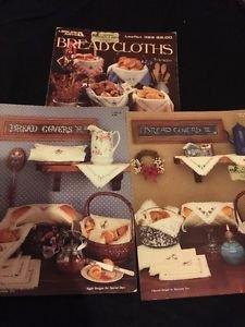 Lot Of 3 Cross Stitch Books Leaflets Bread Cloths Covers II III
