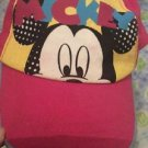 Mickey Mouse Girls One Size Hat 90s Pink Yellow Blue Velcro Back