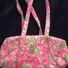 Petal Pink Vera Bradley Purse Bag Handbag Pink Green Double Strap