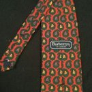 Burberrys Of London Neck Tie 100% Silk Hand Sewn In USA Red Green Paisley Navy