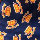 Vintage Telephone Fabric Marcus Brothers Textile Corp Navy Blue Yellow Red