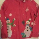 Christmas Sweater Women's PS Petite Small Pink SnowMen Zip Up Front Heirloom Col