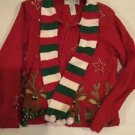 Christmas Sweater Women's PS Petite Small Red Reindeer Zip Up Front Heirloom Col