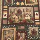 Patriotic Tapestry Throw Blanket Fringe 43x69 American USA Birdhouses Flags