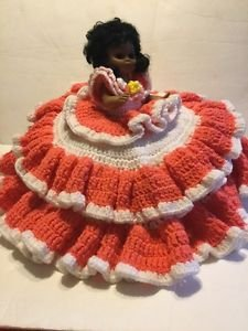 Vintage Hand Knitted Crocheted Bed Pillow Doll African American White Pink Sleep
