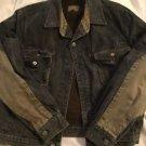 Vintage Calvin Klein Jean Jacket Boys Size 14 Black Denim Lined Patch Elbows