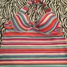 Collections By Catalina Tankini Swimsuit Top Push Up Medium 8 10 Striped Halter