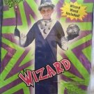 Wizard Costume Boy Size Medium 5 Piece Complete Robe Gloves Wand Hat Blue Silver
