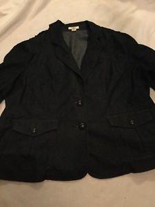 Cato Woman Jean Jacket 18/20w 18w 20w Dark Denim 3/4 Sleeve Fall Fashion