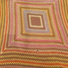 "Vintage Crocheted Afghan 90""X102""  Autumn Color Giant Granny Square Handmade"