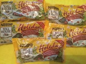 Nestle Toll House Winter Five Bags Chocolate Red Green Baking Morsels Chips 10oz
