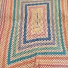 """Vintage Crocheted Afghan 70"""" X 85"""" Baby Colors Giant Granny Square Handmade"""