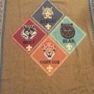Cub Scout Tapestry Throw Blanket Fringe 49x68 Bobcat Tiger Wolf Bear