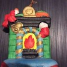 Christmas Ornament Ceramic Handpainted Fireplace Hearth Chimney