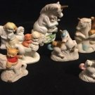 Vintage Unicorn Lot Of 7 Friends Teddy Bear Kids Ceramic Porcelain