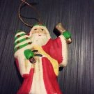 Christmas Ornament Ceramic Handpainted Flat Saint Nicholas Santa Clause