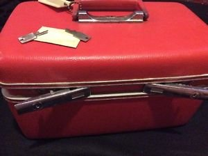 Vintage J Courier Luggage Hard Shell Red Carry On Locking with Keys Retro