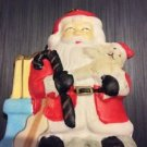Christmas Ornament Ceramic Handpainted Flat Santa Claus With Gifts