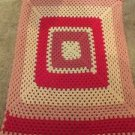 "Vintage Crocheted Afghan 33"" X 57"" Valentines Color Giant Granny Square Handmade"