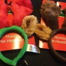 Pet Headband Christmas Holiday Reindeer Antlers Pack Of 2 Red And Green Brown
