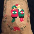 "Burlap Christmas Bag Tie-Top Carolers 14"" x 20"" Brown Red Green Holly Felt Paint"