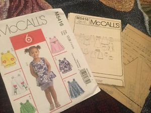 McCall Patterns M5416 Toddler Girls Clothes Top Dress Shorts Uncut 6 Looks CCB