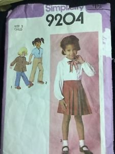 Simplicity Pattern 9204 Girls Size 3 Vintage Shirt Pants Skirt Toddler