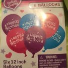 "Happy Birthday Balloons Helium Quality Pink Pack Of 6 12"" 30.4 CM Latex 115064"