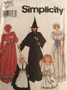 Simplicity Costume Pattern 9982 Holiday Child Girl BB 2-12 Angel Pilgrim Witch