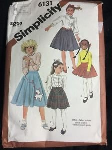 Simplicity Pattern 6131 Girls 50s Poodle Skirt Costume Size 10 12 14 Vintage