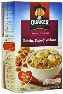 Quaker Raisin Date Walnut Instant Oatmeal Hot Cereal 10 Packs 1.3 Oz Individual