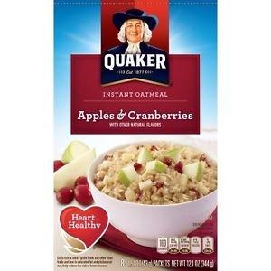 Quaker Apples Cranberries Instant Oatmeal Hot Cereal 8 Packs 1.51 Oz Individual
