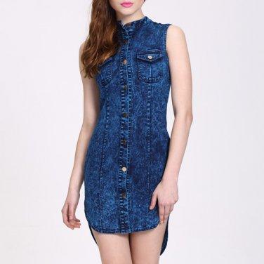 Blue Denim Sleeveless Shirt Dress