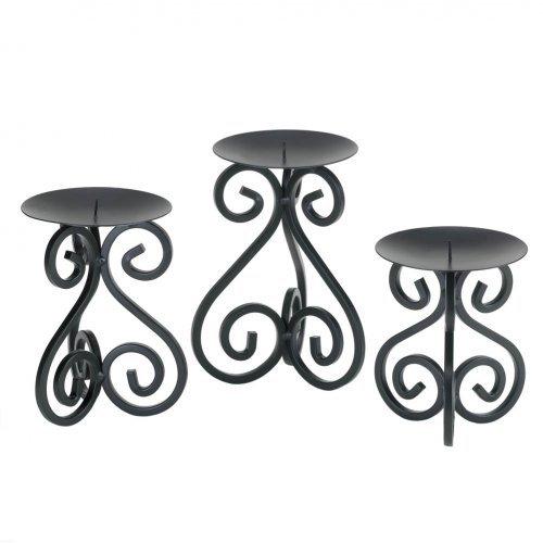 Black Iron Candleholders Set