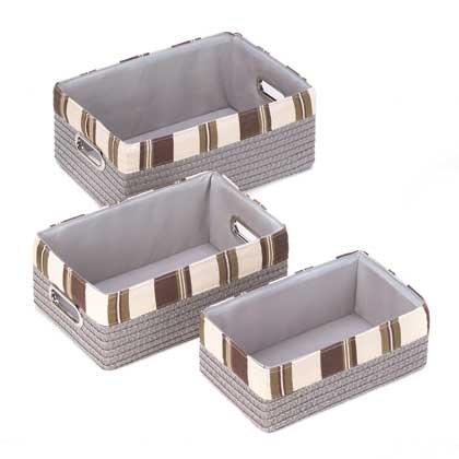 Stacking Grey Striped Basket Set