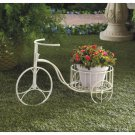 White Metal Tricycle Planter