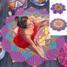 1 piece Beach Towel Round Flowers Printed Large Bath Towel Yoga Cushion Mat Serviette