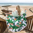 Beach Towel Round Leaves Printed Large Tassel Circular Bath Towel Outdoor Shawl