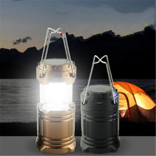 1 piece Rechargeable Hand Lamp Collapsible Solar Camping Hiking Lantern Tent Lights