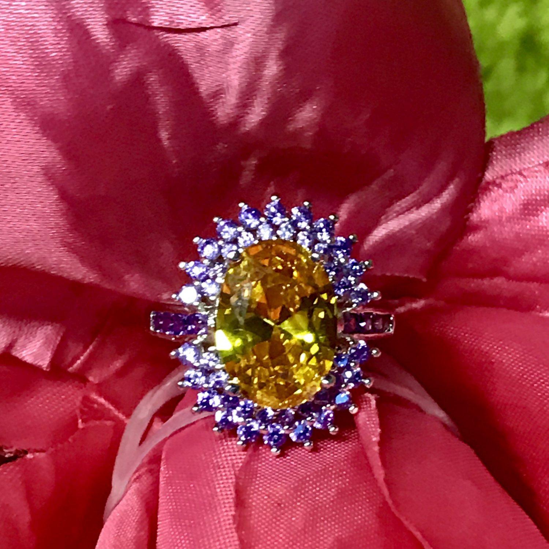 925 Yellow Diamond Tanzanite Diamond Crown Ring