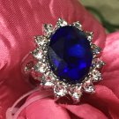 Natural 7.9CT Blue Sapphire, 16 White Cultured Diamond, beautiful 925 Sterling Silver setting.
