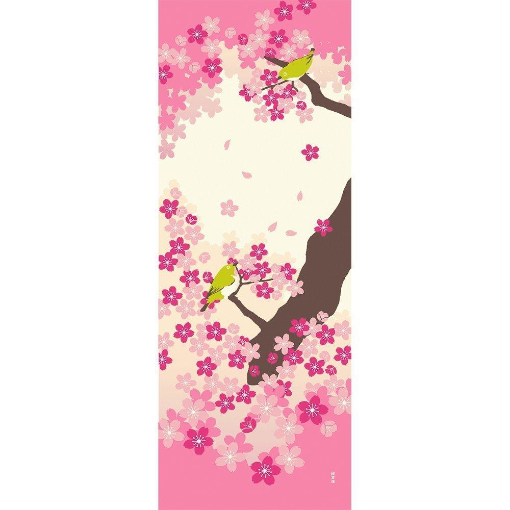 Hamamonyo Nassen Tenugui Towel White-eye on Sakura Tree