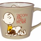 Snoopy Peanuts Vintage Design Mug Cup Brown PT-1301 Made in Japan