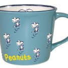 Snoopy Peanuts Vintage Design Mug Cup Blue PT-1302 Made in Japan